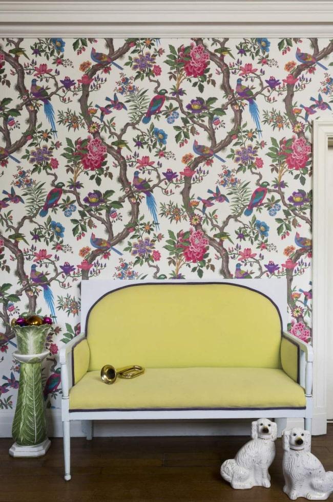 """Fransk trädgård<br>En frodig tapet med """"livets träd"""" som hämtat inspiration från slottet Fontainebleau utanför Paris. 3876 kronor per rulle, Cole & Son"""
