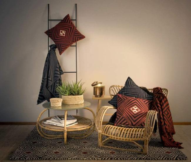 Kunglig design. Så här ser Åhléns textilkollektion Design by Bernadotte & Kylberg ut. Kollektionen består av tre olika mönsterbilder och är början på ett två år långt samarbete med prins Carl Philip och Oscar Kylberg.