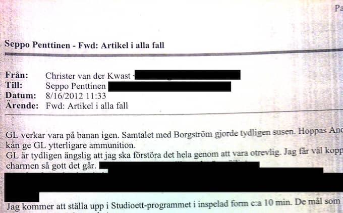 """16 AUGUSTI 11.33. Christer van der Kwast till Seppo Penttinen: """"GL verkar vara på banan igen. Samtalet med Borgström gjorde tydligen susen. Hoppas Anderes E kan ge GL ytterligare information. GL är tydligen ängslig att jag ska förstöra det genom att vara otrevlig. Jag får väl koppla på charmen så gott det går (...) Jag kommer att ställa upp i Studio Ett-programmet i inspelad form i cirka 10 minuter."""""""