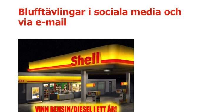 """Shell har gått ut på sin hemsida och varnat för bluffen. """"Ovanligt sofistikerat"""", säger informationschefen Erica Samuelsson."""