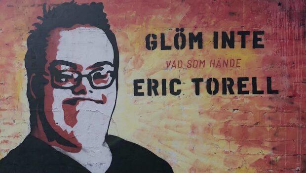 Eric Torell hyllas med graffitiporträtt