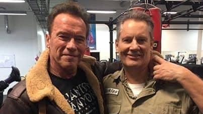 """Arnold Schwarzenegger gjorde ett hemligt besök på Björne Hebelius gym i Kungsbacka. """"Det är en önskedröm"""" Foto: Privat"""