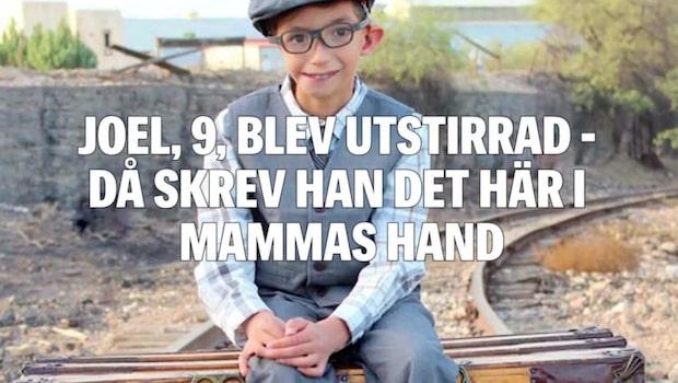 Funktionsnedsatte Joel, 9, blev utstirrad – då skrev han det här i mammans hand