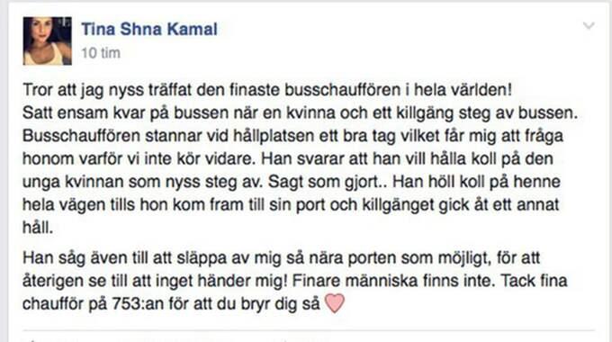 Här är inlägget som Shna skrev direkt efter mötet med busschauffören. Foto: Privat