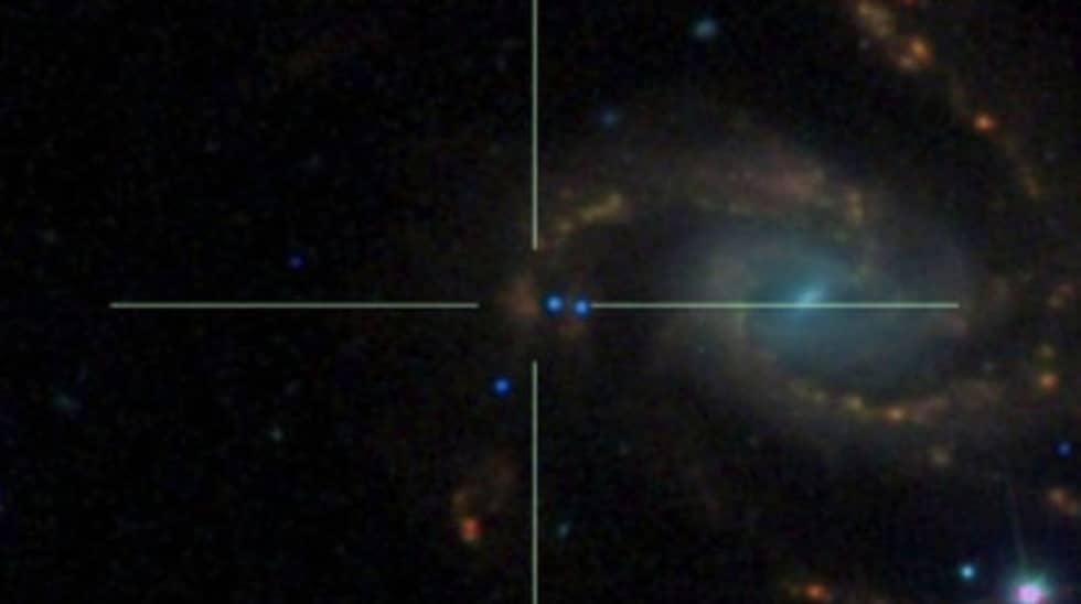 Någonstans i mitten av bilden finns supernovan i galax NGC 7610. Foto: iPTF/Palomar Observatory/Sloan Digital Sky Survey