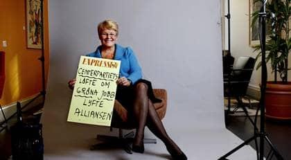 """Centerpartiet med Maud Olofsson i spetsen vill göra förändringar kring arbetsrätten. """"Vi måste göra någonting åt Las eftersom företagen ser det här som ett problem. Företagen säger att de avstår från att anställa för att de är oroliga för Las"""", säger Maud Olofsson. Foto: Robban Andersson"""