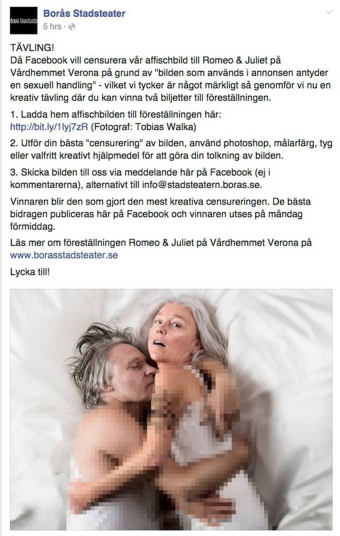 Efter. Teatern valde själva att censurera bilden och lanserade också en tävling. I tävlingen uppmanar teatern sina följare att till exempel använda tygbitar för censur-ändamål. Även denna bild stoppades av Facebook. Foto: Skärmdump