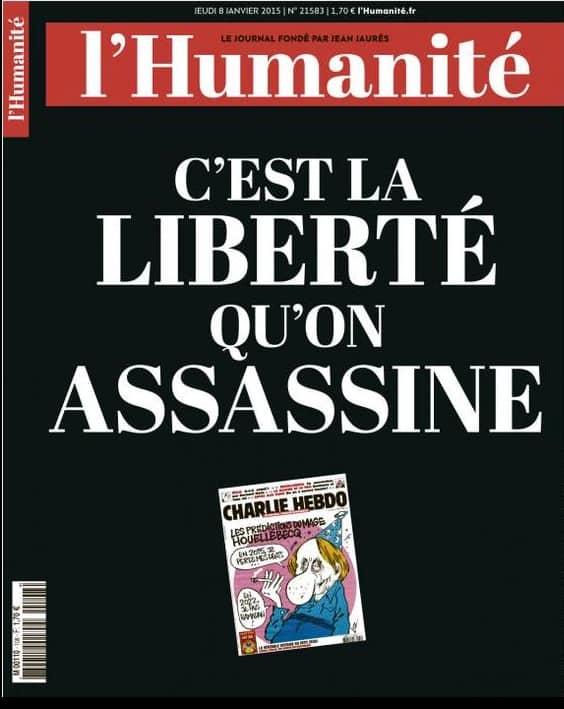 L'Humanité: Det är friheten som mördats. De kommer också ha en svart framsida i morgon, likt många andra tidningar i Frankrike.