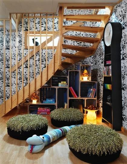 UNDER TRAPPAN. Att ha förvaring under trappan ger en mysig stämning om du möblerar på rätt sätt. Svamplampor, stor, 595 kronor, liten, 325 kronor, inklusive ljuskälla, Leklyckan. Golvpuff, 980 kronor, Etol. Stickad jätteorm,  770 kronor, inreda.com.Tapet Front 5769, 380 kronor/rulle, Eco-Boråstapeter. Kaninlampa, 525 kronor, Leklyckan.