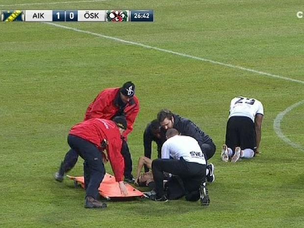 Skräckskada för AIK:aren – benet går av