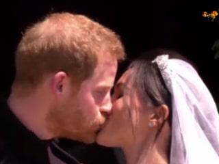 Prins Harrys och Meghan Markles första kyss som gifta