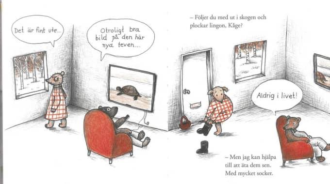 INTRESSEKONFLIKT. Mina vill ut, Kåge stanna hemma. Foto: Ill: Anna Höglund