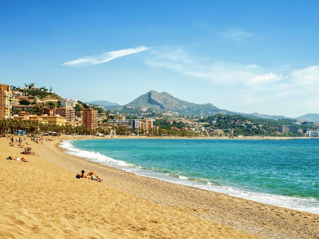 Malaga, på tionde plats över resmål midsommar 2019.