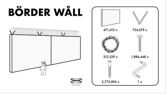 """Köp och bygg en """"Börder wåll"""". Så här ser """"låtsasreklamen"""" från Ikea ut som satirtidningen Postillons tecknare har gjort."""