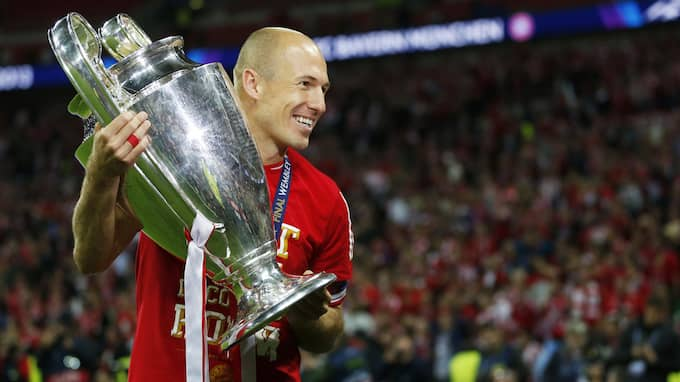 Arjen Robben efter Champions League-titeln 2013. Foto: BILDBYRÅN
