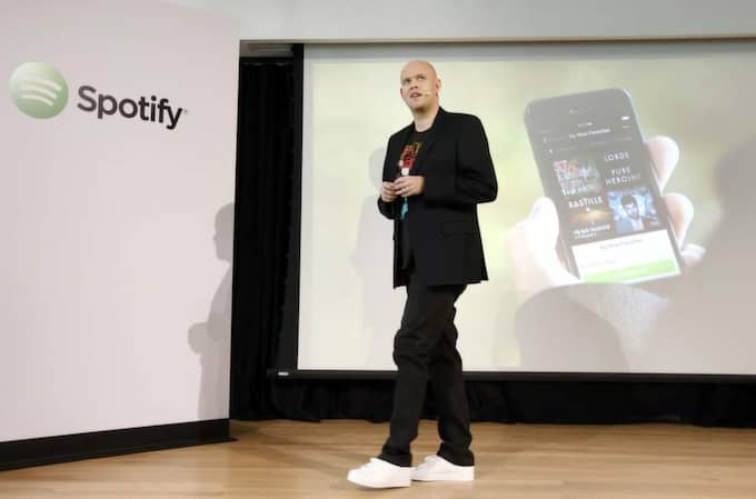 Daniel Ek, vd och grundare för Spotify under presskonferensen i New York på onsdagen. Foto: Jason Decrow