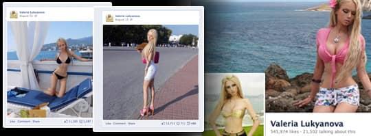 Valeria Lukyanova har opererat sig till en barbiedocka. Foto: Facebook.com/ValeriaLukyanova