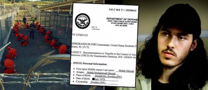 Här är dokumentet som visar anledningen till att Mehdi Ghezali hölls inspärrad på Guantanamo. Foto: Reuters och Scanpix