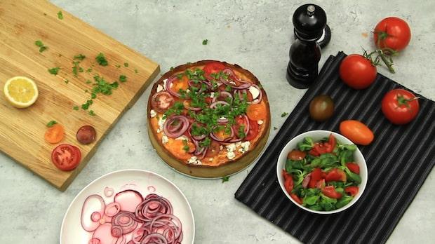 Vårig paj med getost och tomater