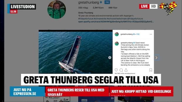Thunberg bojkottar planet – seglar till USA