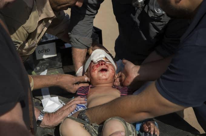 Den lilla pojken har skadats svårt av en granat. Soldaterna vid det provisoriska fältsjukhuset försöker hjälpa honom. Foto: Niclas Hammarström