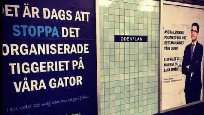 SD:s kampanj i Stockholms tunnelbana. Foto: LÄSARBILD