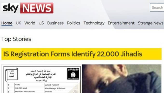 Skärmdump från Sky News publicering. Foto: Sky News