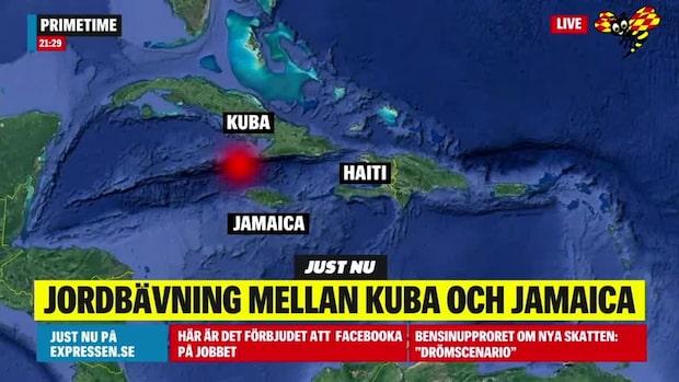 Tsunamivarning efter kraftig jordbävning