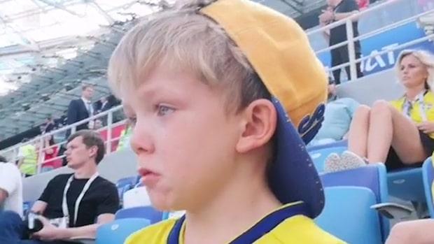 Marcus Bergs son i tårar när han får se pappa