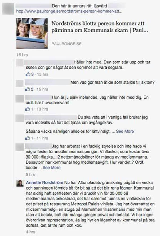 """Även här kommenterar Annelie Nordström. """"Nu har Aftonbladets granskning pågått en vecka och sanningen förvrids bit för bit så att det blir rena lögner. Kommunal har aldrig haft spritfesten där vi druckit vin för 30 000 på medlemmarnas bekostnad, det har däremot funnits en vinflaska för det priset på restaurang Metropol Palais vinlista"""", skriver hon bland annat."""