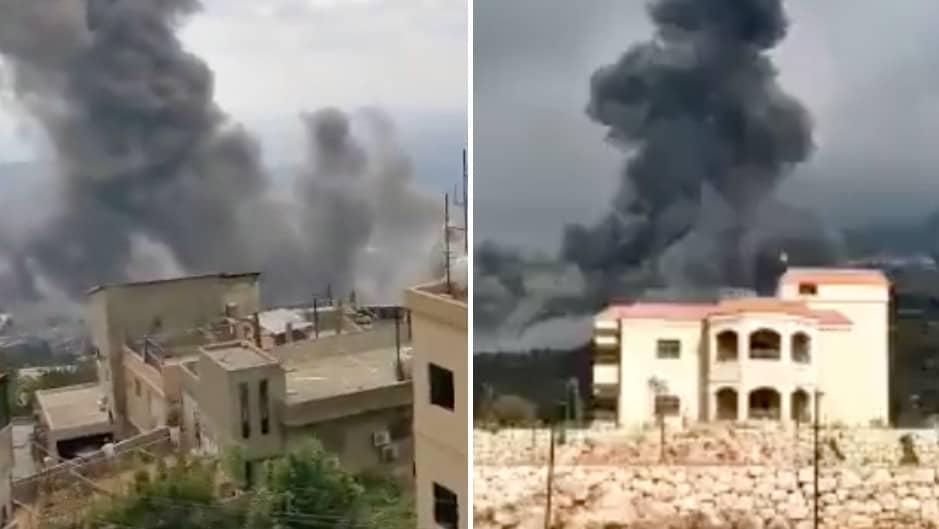 Explosion i södra Libanon – filmer visar stora rökmoln