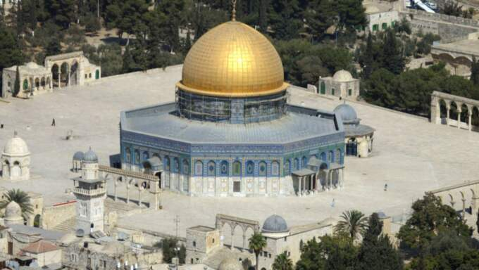 Heliga platser. al-Aqsamoskén och Klagomuren i Jerusalem. Foto: AP