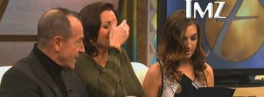 "Michael Lohan, Kristi Horn och Ashley i den amerikanska tv-showen ""Trisha Goddard"". Foto: TMZ.com"