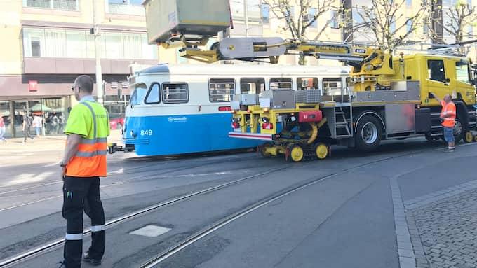 Spårvagnstrafiken har stoppats i centrala Göteborg efter ett fordonsfel. Foto: Anders Frick