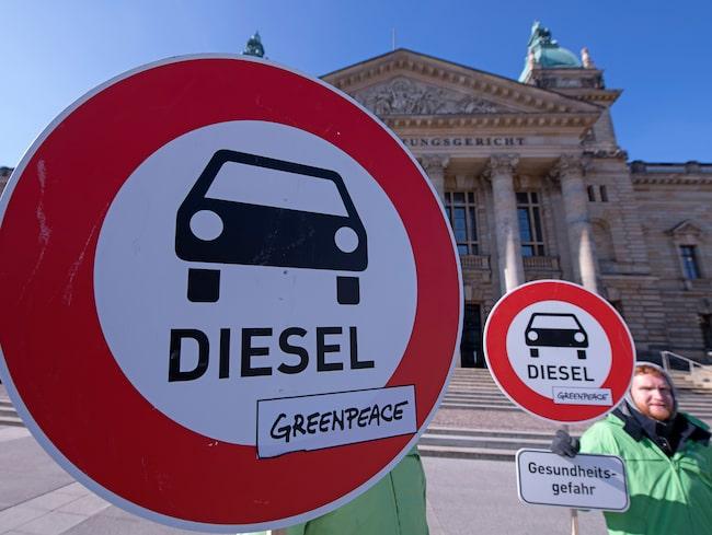 Demonstration för dieselförbud i Tyskland.