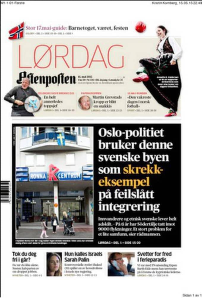 Norska Aftenpostens förstasida i dag.