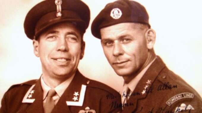Vännerna Knut Haukelid (t v) och Allan Mann. Bildkälla: JOAKIM GRÖNDIN