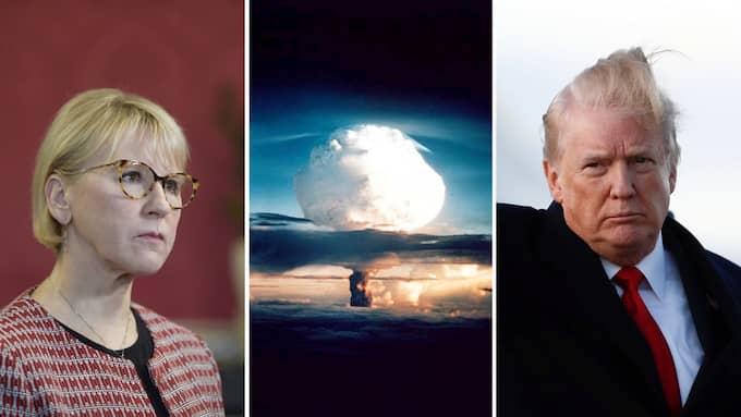 Kärnvapenhotet är tillbaka och USA:s mer offensiva strategi ökar riskerna. Svensk plakatpolitik är dock fel svar. Foto: CAROLYN KASTER / AP TT NYHETSBYRÅN, DOE / EPA AFPI och STINA STJERNKVIST/TT / TT NYHETSBYRÅN