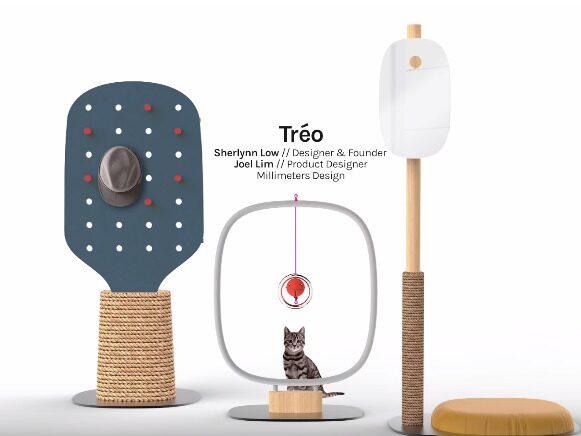En skiss på tre olika modeller som designgruppen tagit fram till mässan för kattmöbler.