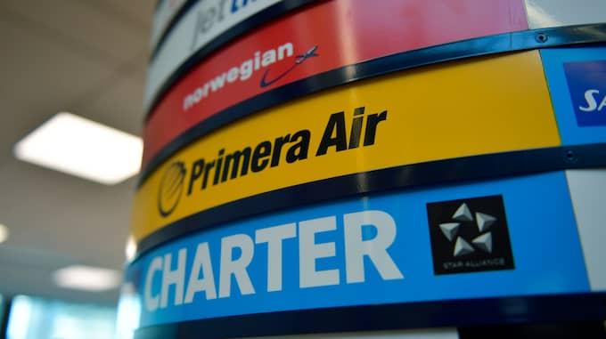 Primera Air är ett av Solresors charterflygbolag, men det flyger nu även reguljärt. Foto: Stina Stjernkvist / TT NYHETSBYRÅN