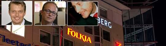 De sitter i Folkias ledning. Hördur Bender, 44, vd och en av grundarna av Folkia. Magnus Sjögren, 38, vice vd. Anders Linder, 35, vice vd.