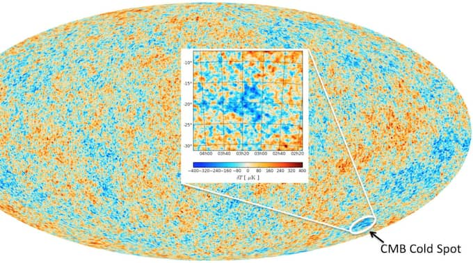 """Här syns den """"kalla fläcken"""" i universum. Foto: Durham University"""