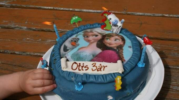 Efter tre hjärtoperationer firade Otis sin treårsdag med tårta och maskeradfest. Foto: Privat