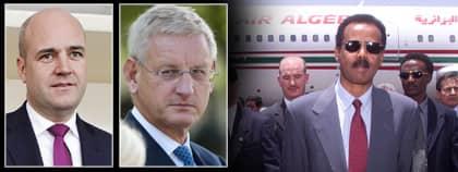 Fredrik Reinfeldt och Carl Bildt ville få till ett möte med diktatorn Afewerki. Foto: AP och Scanpix