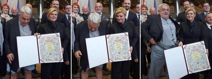 Här tappar kroatiske människorättsaktivisten byxorna framför Kroatiens president. Foto: AFP