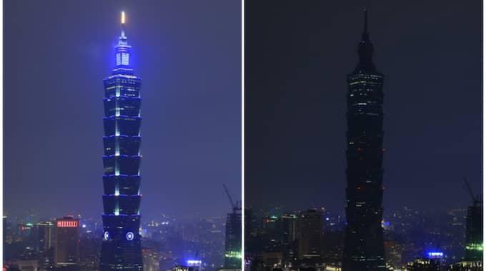 I Taiwan släcktes det ner. Foto: Ritchie B. Tongo / Epa / Tt / EPA TT NYHETSBYRÅN
