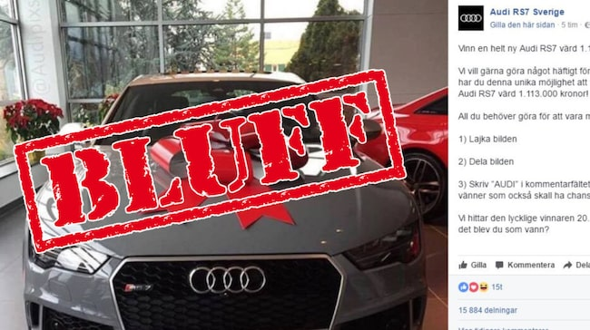 Audi varnar: Tävlingen på facebook är en bluff.