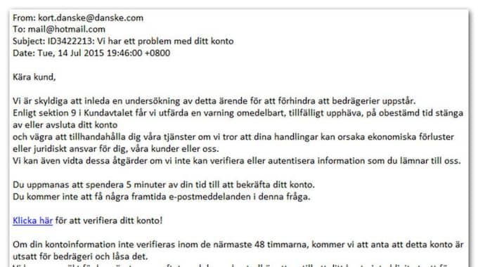 På bankens hemsida varnar de också sina kunder för de sluga bluffmejlen. Foto: Danske Bank