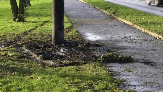 Kvinnan avled när bilen hon färdades i kraschade med en stolpe och fattade eld. Foto: Robin Aron