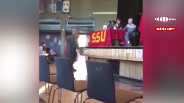 Intern film visar hur SSU-ordförande skriker tills möte stoppas